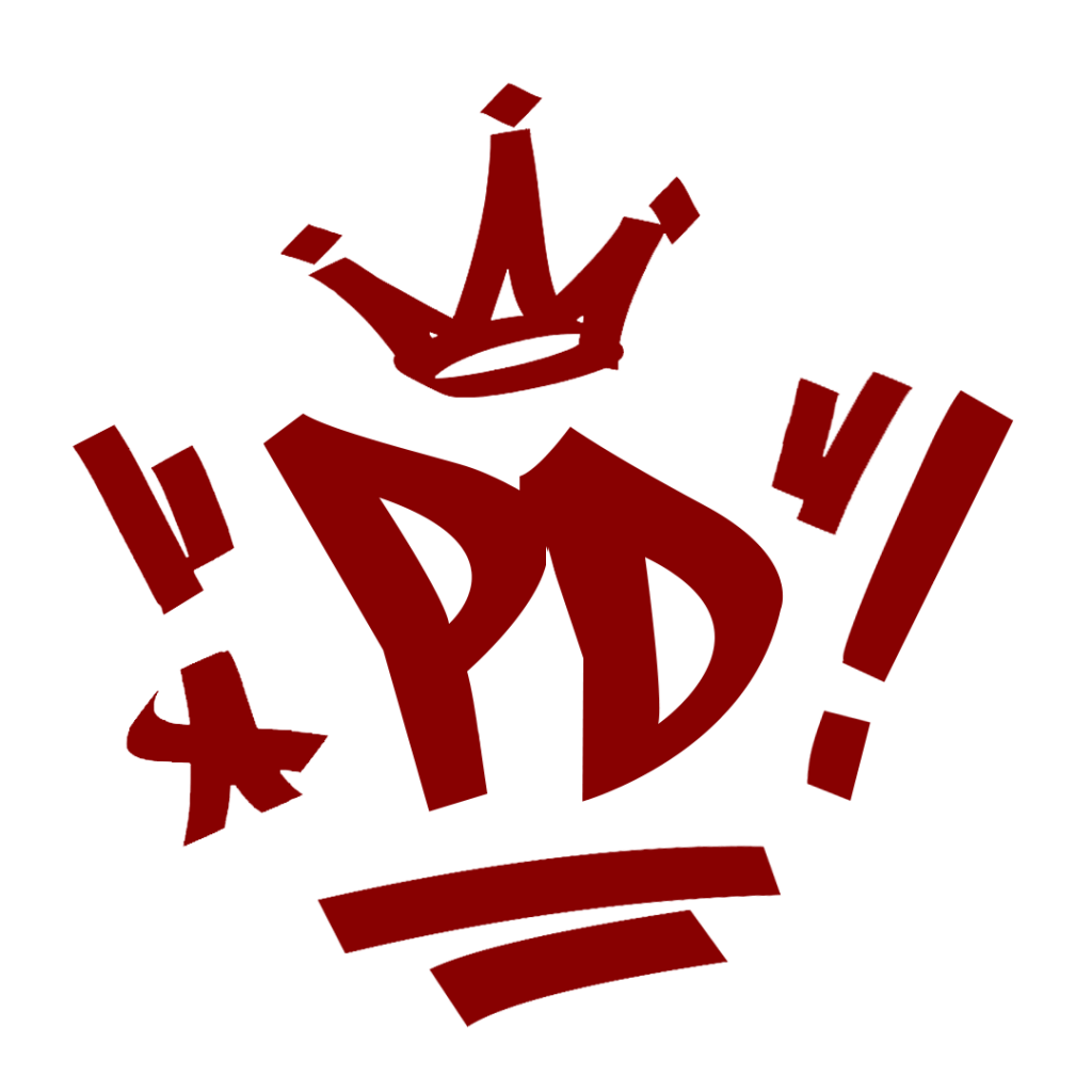red PD crown graffiti