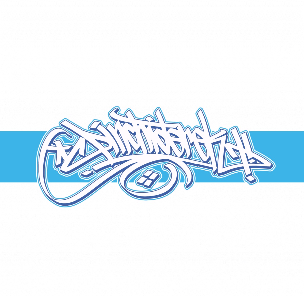 pinchi derek blue graffiti logo