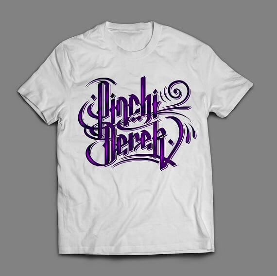 purple script logo shirt