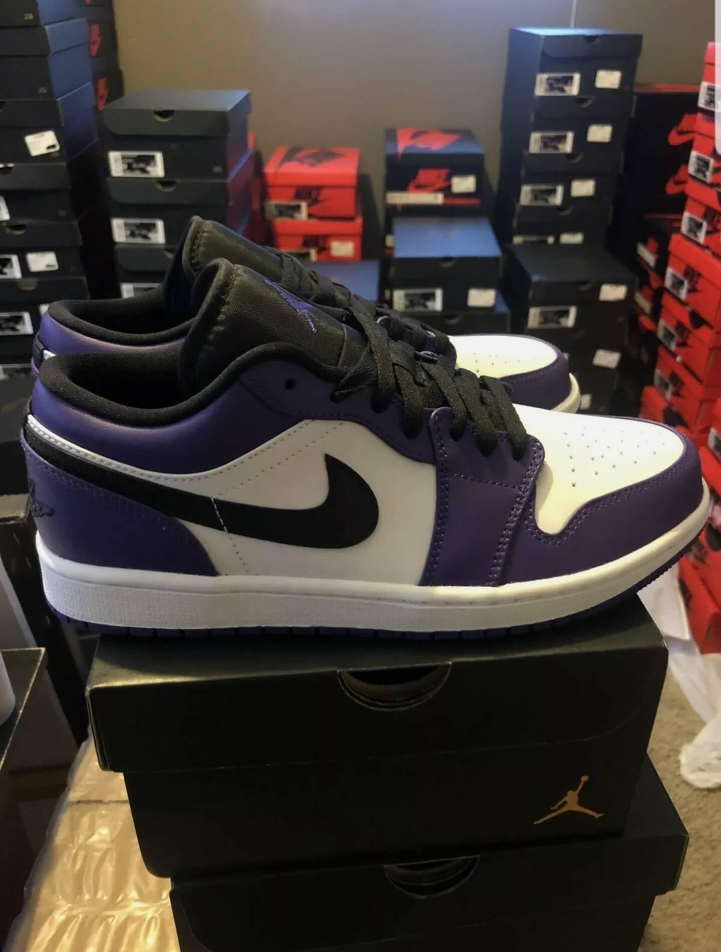 nike jordan low purple white