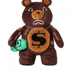 sprayground baller money gold chain bear backpack 1